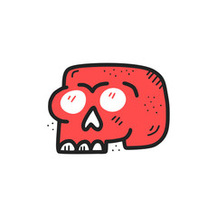 Red skull hand drawn flat color illustration