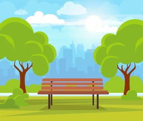 City summer park with green trees bench, walkway and lantern. Town and city park landscape nature. Cartoon vector illustration.