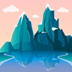 Mountain and lake landscape. Beautiful view on the snow peaks and river with reflection. Pink gradient sky and clouds. Travel concept. Vector illustration. Flat cartoon style.