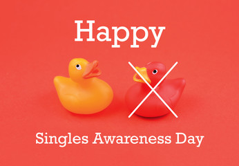 Singles Awareness Day images. Toy Rubber duck stock images. Red and yellow rubber duck. Couple of colorful rubber ducks. February 15, Singles Awareness Day. American holiday. Important day