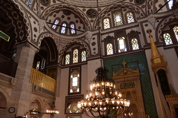 Interior view of Valide-i Cedid Mosque in Istanbul. Ancient, building