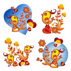 paperart valentine day illustration with chicken, flowers and heart
