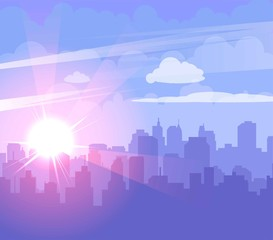 Flat cityscape with purple sky, white clouds and sun. Modern city skyline flat panoramic vector background. Urban city tower skyline illustration.
