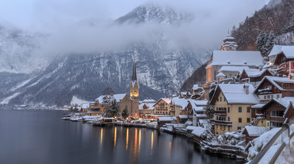 Blue hour in winter in Hallstatt