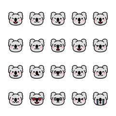 Color line icon set of Koala animal Emoji Emoticon.