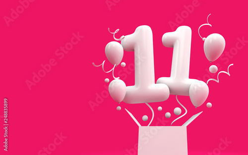 Happy 11th Birthday Surprise Balloon And Box 3D Rendering Stock