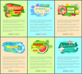 Set of summer promo posters with exotic fruits and summertime accessories. Vector banners with pineapple, watermelon, orange and sunglasses, lifebuoy