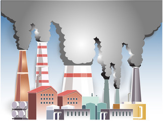 beautiful  illustration vector air pollution from the industry  for background.