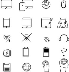 illustration vector technology icons for background.