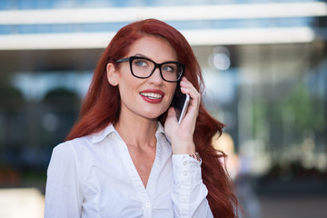 Eyeglasses business woman cell phone