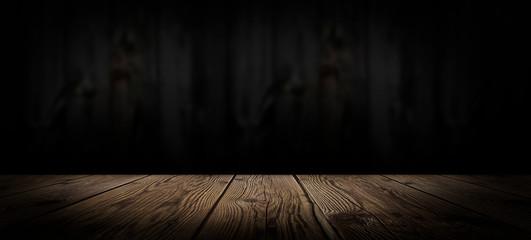 Dark empty room, wooden floor and wooden wall. Dark empty room scene.