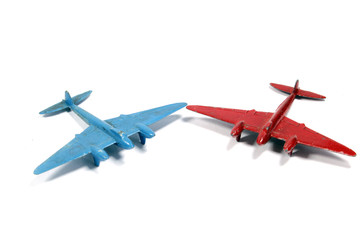 Vintage Toy Aircraft Model Toys on White Background