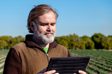 A farmer looks and uses his tablet in his field.