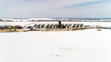 Aerial View of the Big Grain Elevator in Winter
