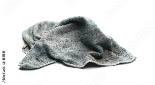 fd92febb4 Dirty blue crumpled microfiber cloth isolated on white background ...