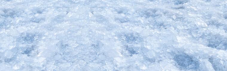 Broken crushed ice winter snow background