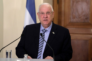 Israeli President Reuven Rivlin talks during a press conference at the Presidential Palace in Nicosia