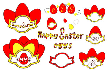 Vector Happy Easter templates with eggs, flowers, floral branches, and typographic design. Good for spring and Easter greeting cards and invitations.