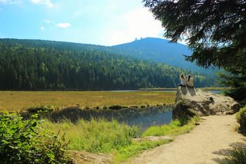 Hiking break at the little Arber lake, Bavarian Forest - Germany