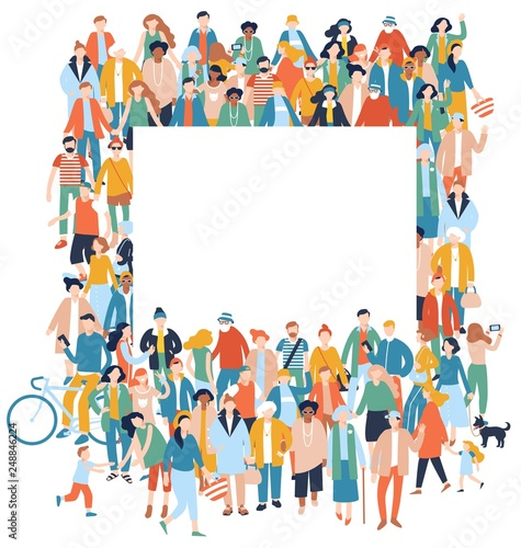 Modern multicultural society concept with crowd of people and blank