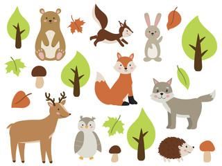 Set of forest animals. Cute cartoon fox, rabbit, bear, wolf, owl, squirrel, deer and hedgehog. Autumn tree and leaf. Vector illustration for nursery.