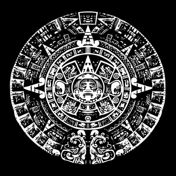 Mayan calendar, black and white with high detail, culture