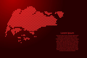 Singapore map abstract schematic from red triangles repeating pattern geometric background with nodes for banner, poster, greeting card. Vector illustration.