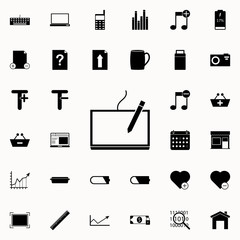 tablet with stylus icon. web icons universal set for web and mobile on white background