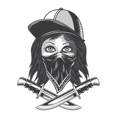 Illustration of a bandit girl with bandana, hat and knives. Isolated on white background.