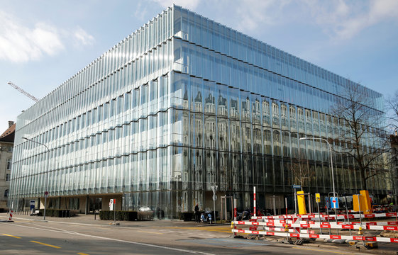 A general view shows a modern building of the headquarters of the insurance company Swiss Re in Zurich
