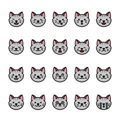 Color line icon set of Cat Emoji Emoticon Expression.