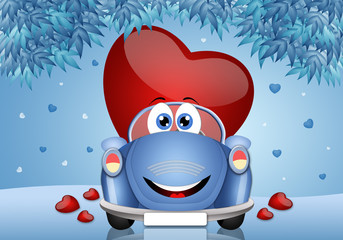 illustration of heart in funny car