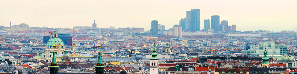 Aerial view of the city Vienna, Austria with historical area and downtown