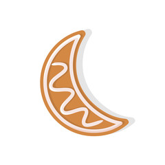 Moon crescent shaped cookie made of gingerbread vector. Isolated icon of food snack prepared for Christmas celebration winter holiday meal pastry
