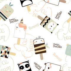 Seamless pattern with cute funny ice cream. Doodle vector illustration