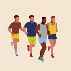 Marathon or sprint race. Sport running competition. Athletes vector illustration.