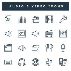 20 audio & video icon set in line art.