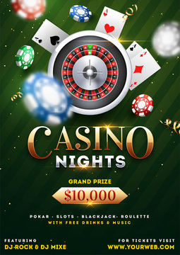 Casino Night party template design with realistic roulette wheel, playing cards and casino chips illustration on green background.