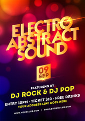 Electro abstract sound party template design with bokeh effect.
