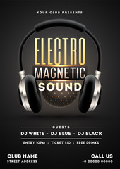 Realistic headphone illustration on black background for Electro Magnetic Sound party template design.