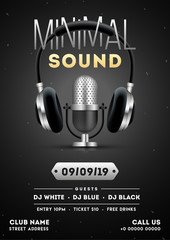 Vector illustration of headphone with microphone on glossy black background for Minimal Sound Party template design.