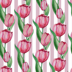 Hand drawn Watercolor tulips seamless pattern.