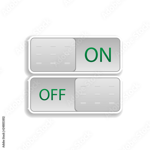 on and off buttons colored sticker icon  Elements of music player in
