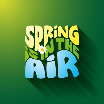 Spring is in the air - Hand drawn lettering card, background. Vector illustration with green gradient background for banner,  discounting, posters, social media, or other printing.