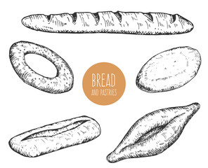 Set of hand drawn sketch bakery products isolated on white background. Vector vintage retro illustration.