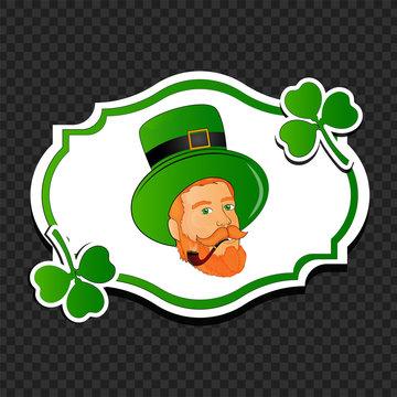 Leprechaun man face on vintage sticker with clover leaves on black transparent background for St. Patrick's Day celebration concept.