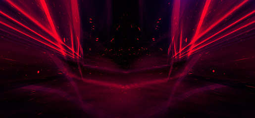 Tunnel in pink neon light, underground passage. Abstract dark pink, red background. Background black empty with neon light. Abstract background with lines and glow Fotomurales