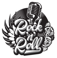 Vector stylish print template on the theme of rock with microphone, wing, vinyl, rose