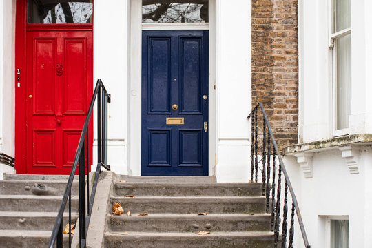 Front doors of a house at London street.