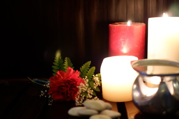 candle and flowers